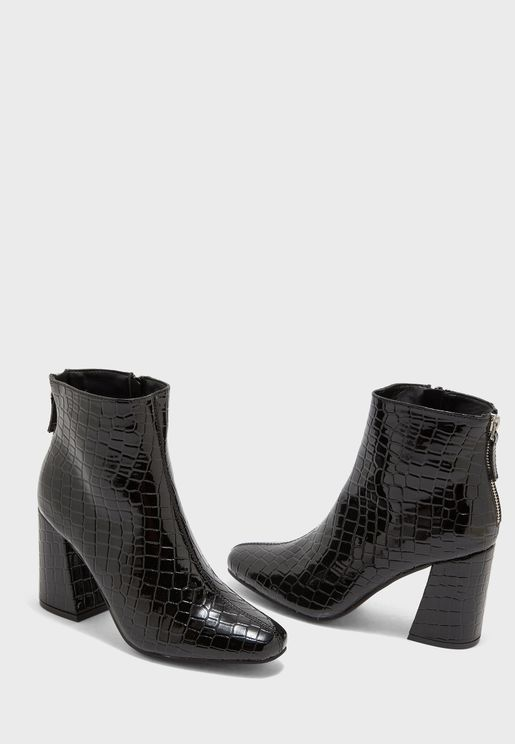 Croc Flared Block Heel Boot