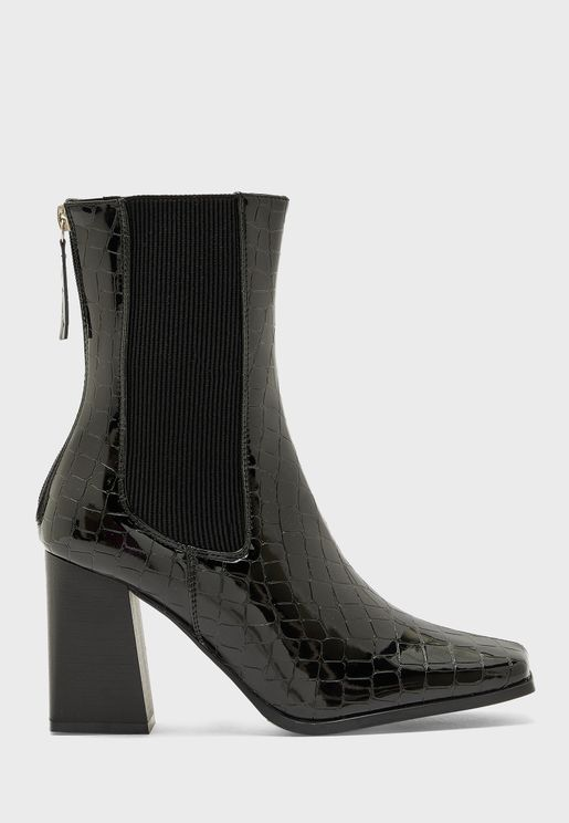 Patent Croc Effect Pointed Stiletto Boot