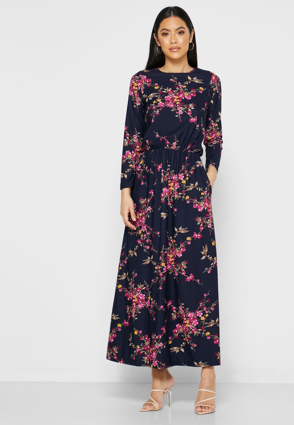 فستان ماكسي بطبعات ازهار