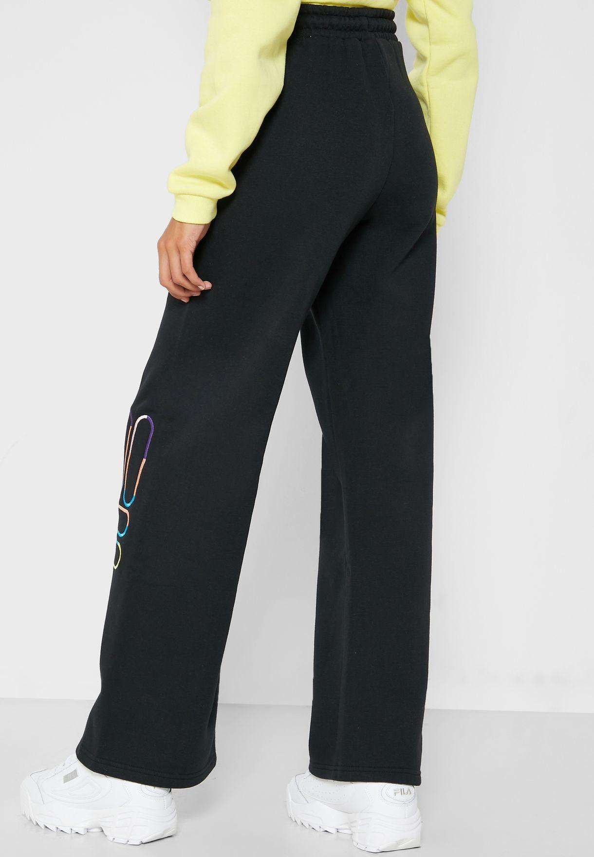 Devon Embroidered Logo Wide Leg Sweatpants