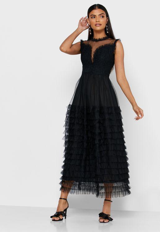 Tiered Mesh Midi Dress