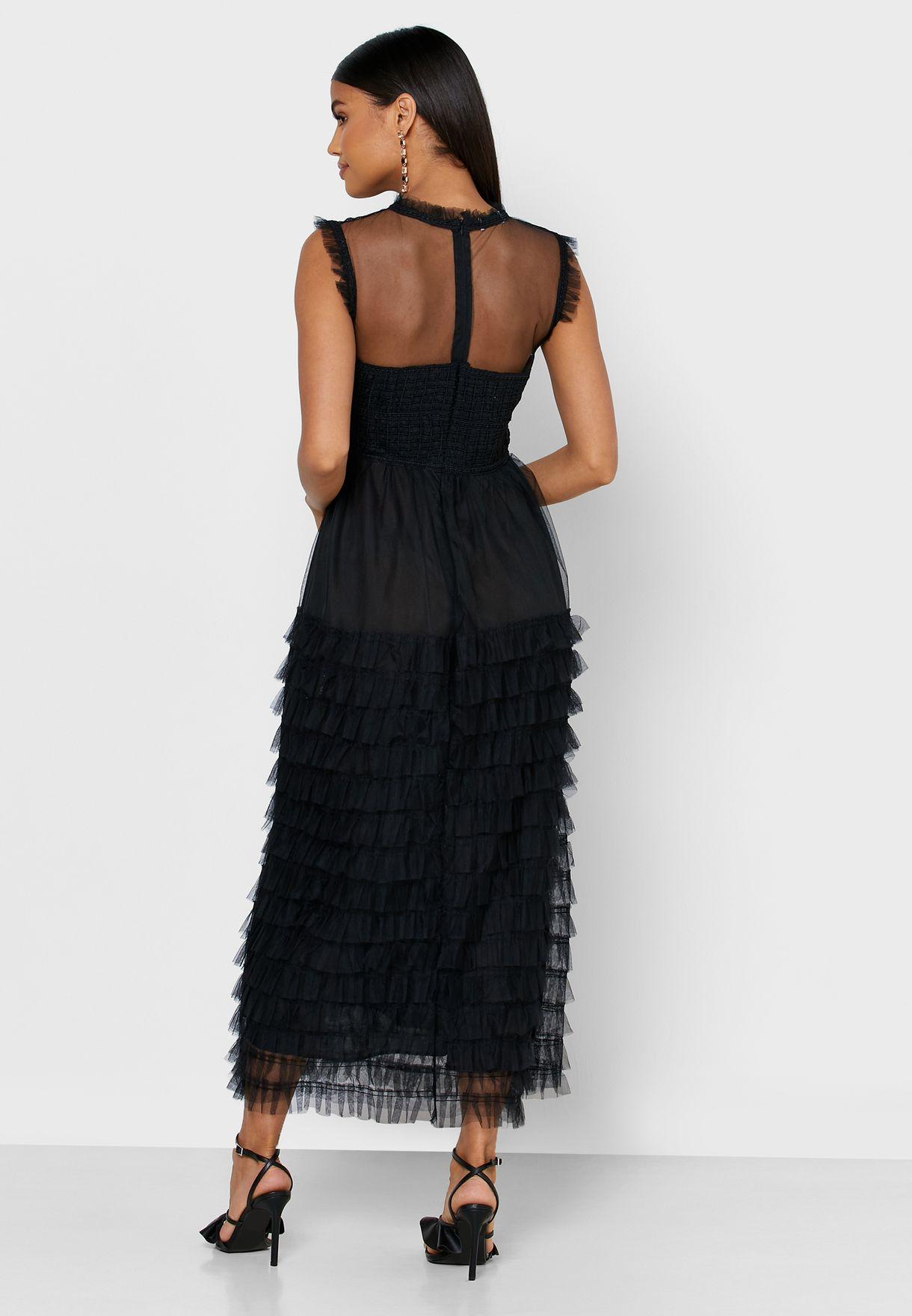 فستان ميدي بطبقات كشكش