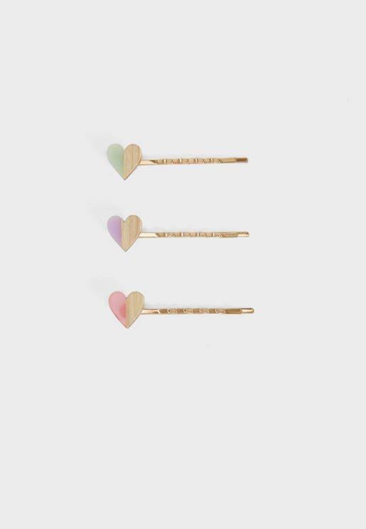 Kids 2 Pack Heart Detail Hairclip