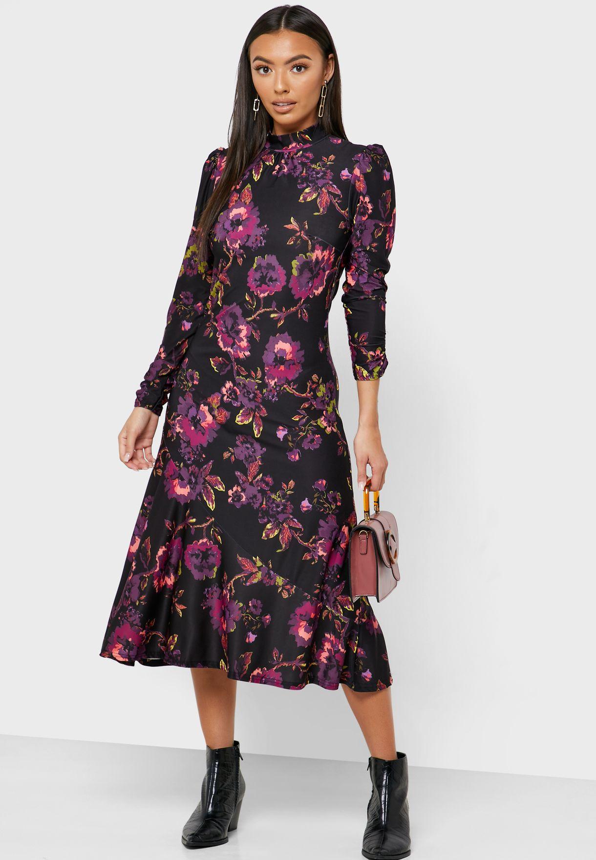 Floral Print High Neck Dress