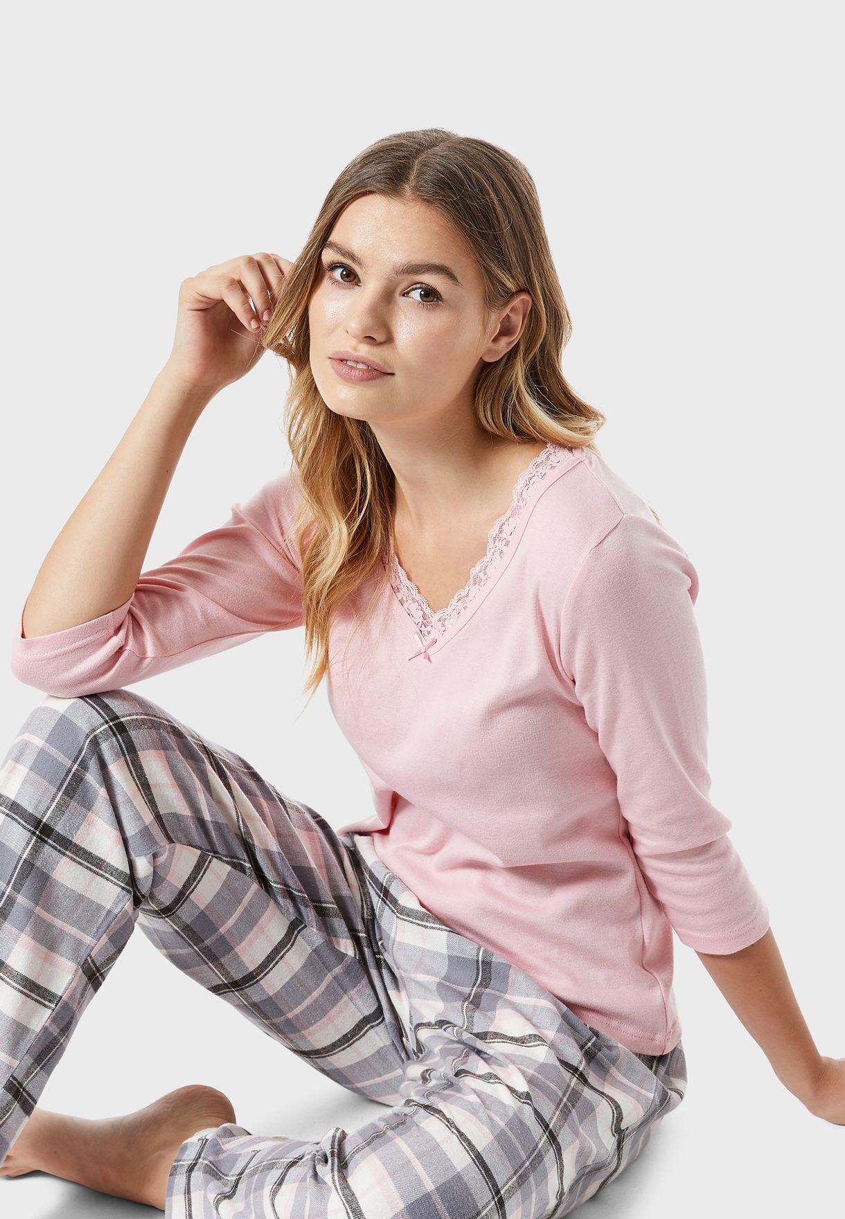 Lace Trim Top & Checked Pyjama Set