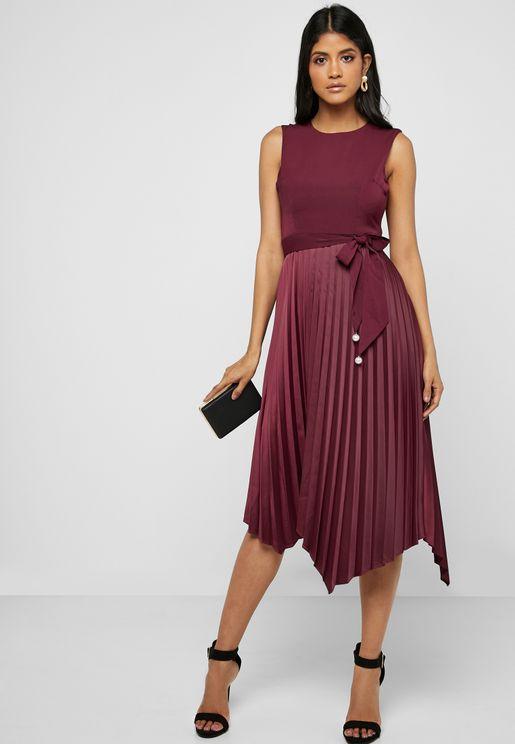 Pleated Skirt Self Tie Midi Dres