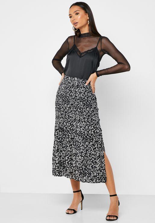 Side Split Printed Skirt