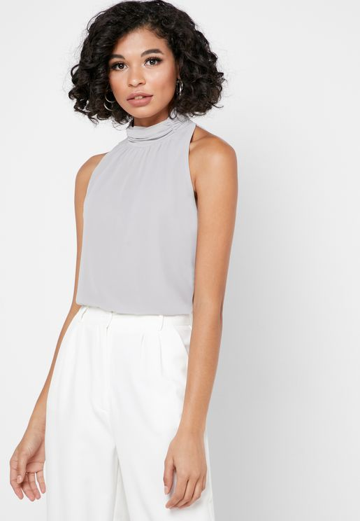 High Neck Ruched Detail Top