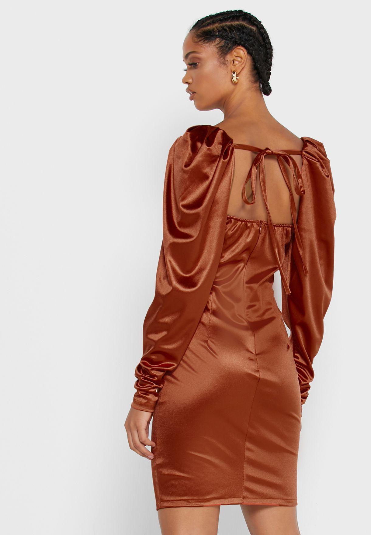 Satin Puffed Sleeve Mini Dress