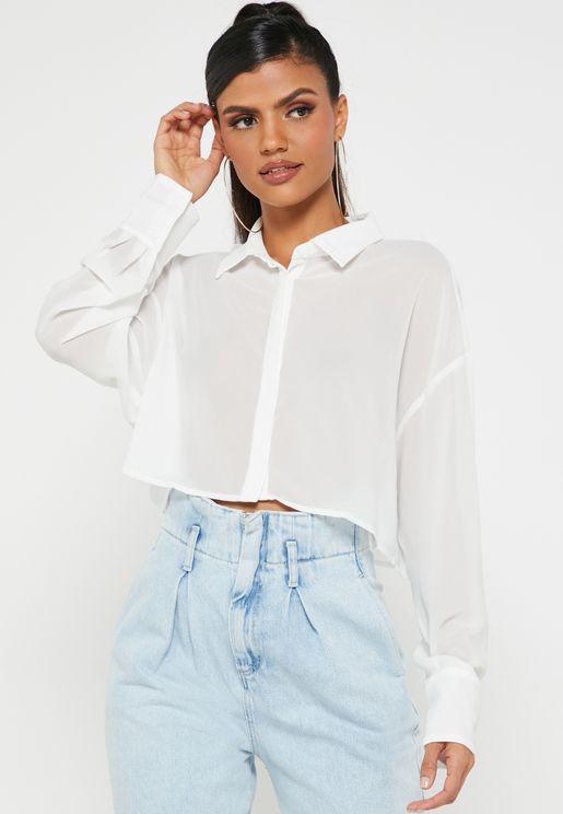 قميص شفاف بازرار