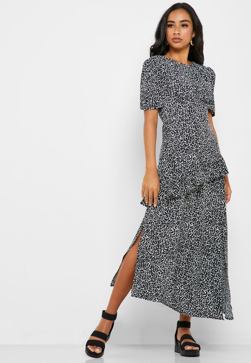 Ruffle Detail Animal Print Dress