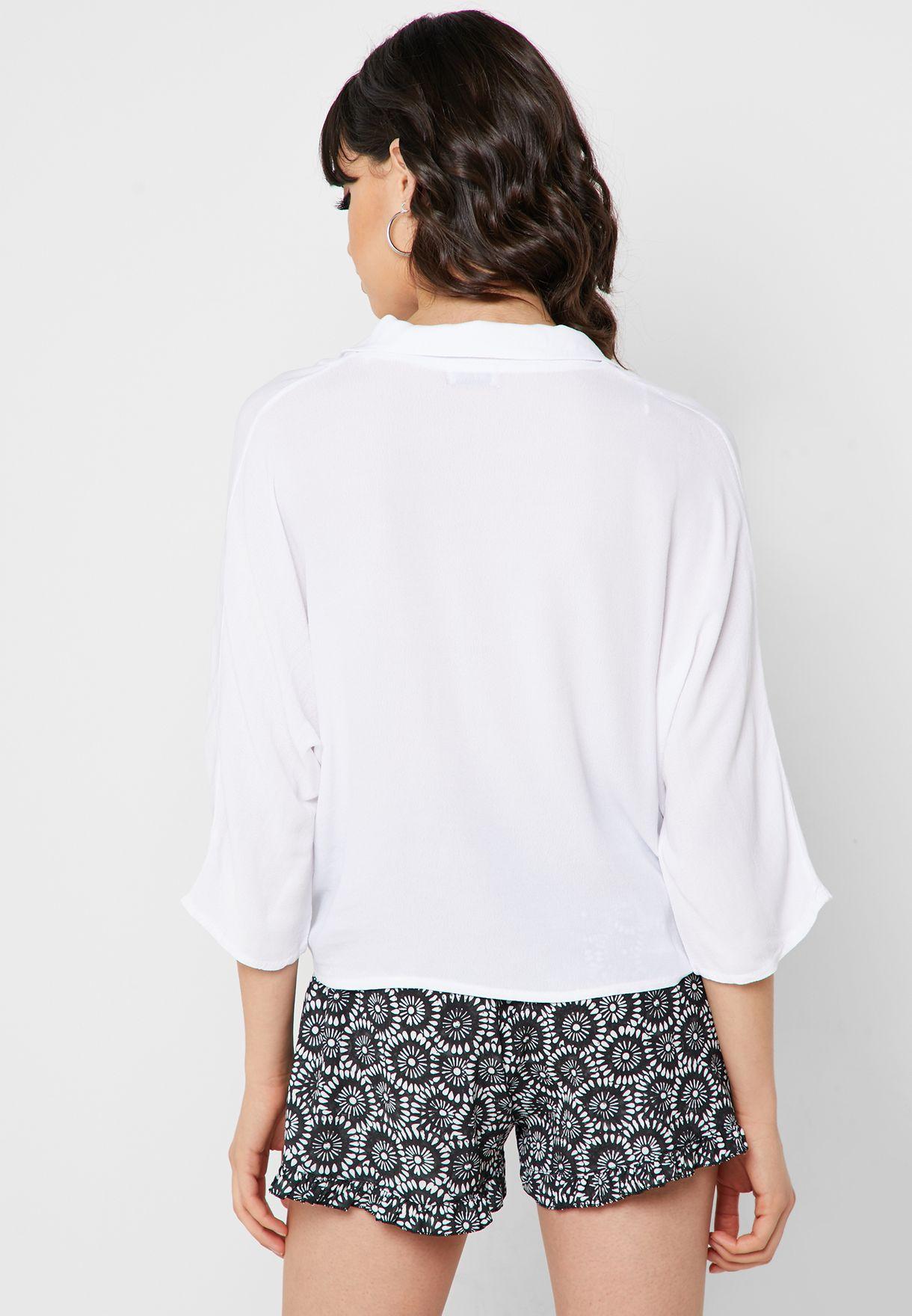 قميص قصير بأربطة