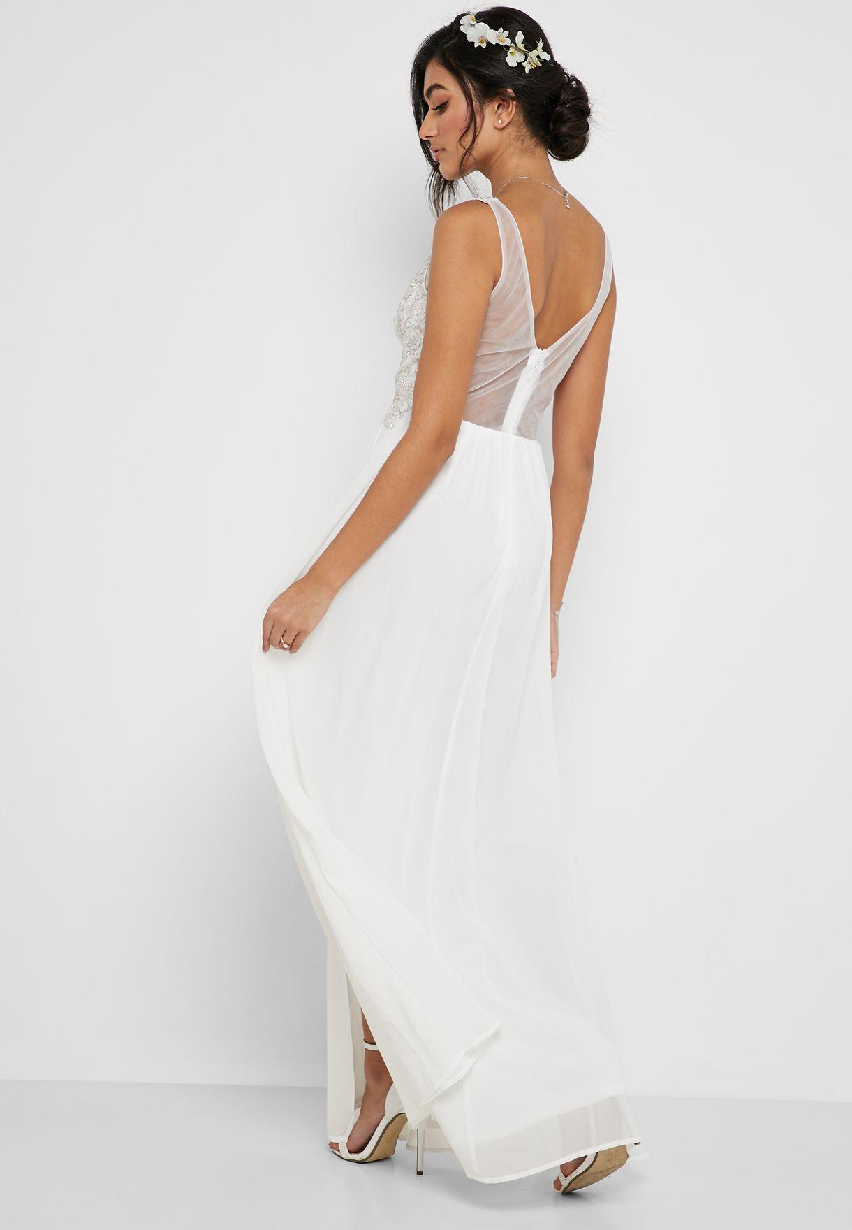 Front Slit Embellished Maxi Dress