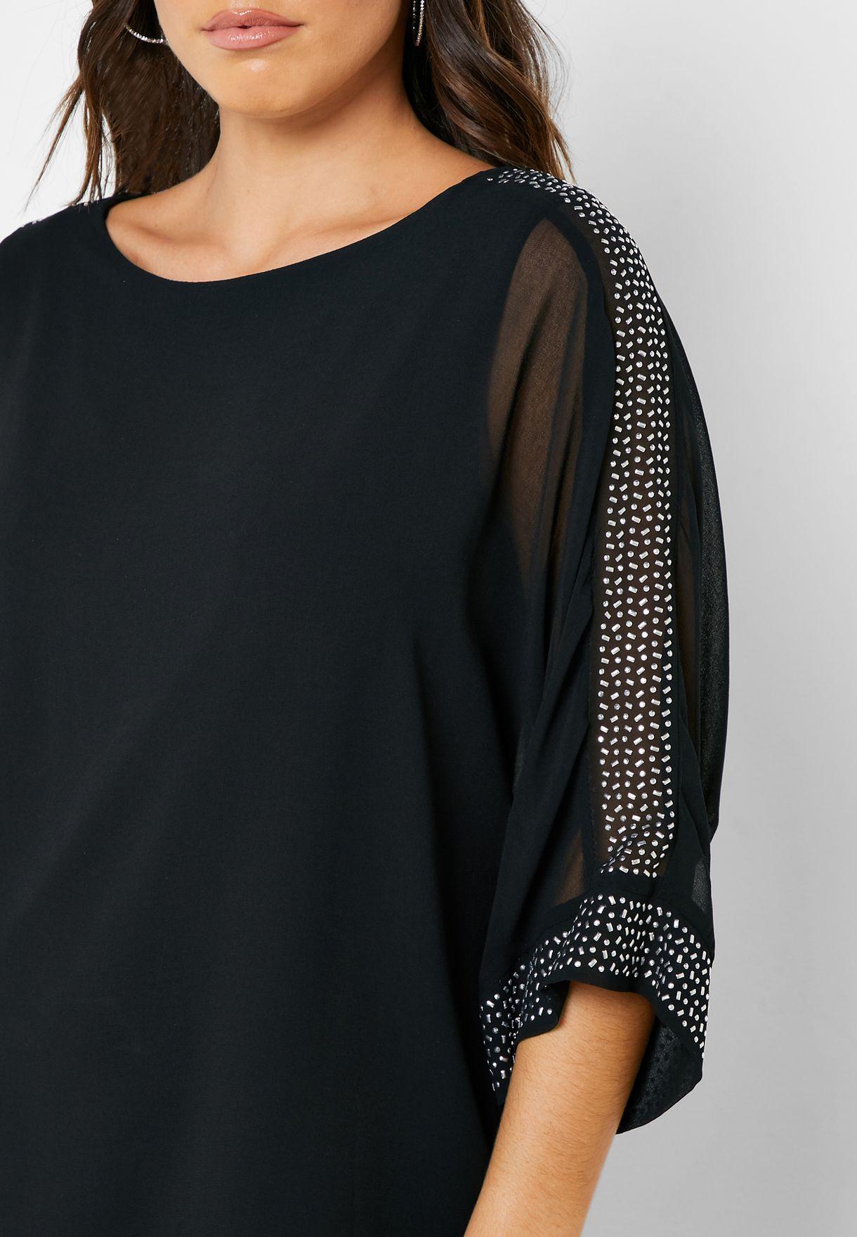 Embellished Sheer Sleeve Overlay Top