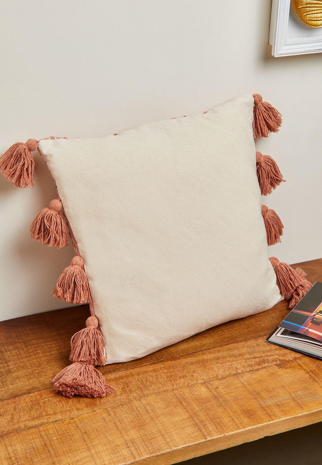 Rust Pom Pom Speciality Cushion