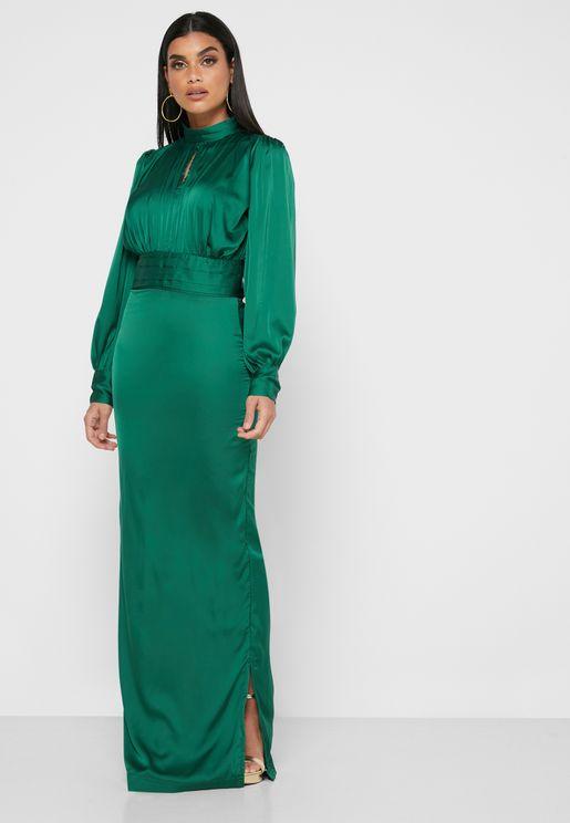 High Neck Satin Maxi Dress