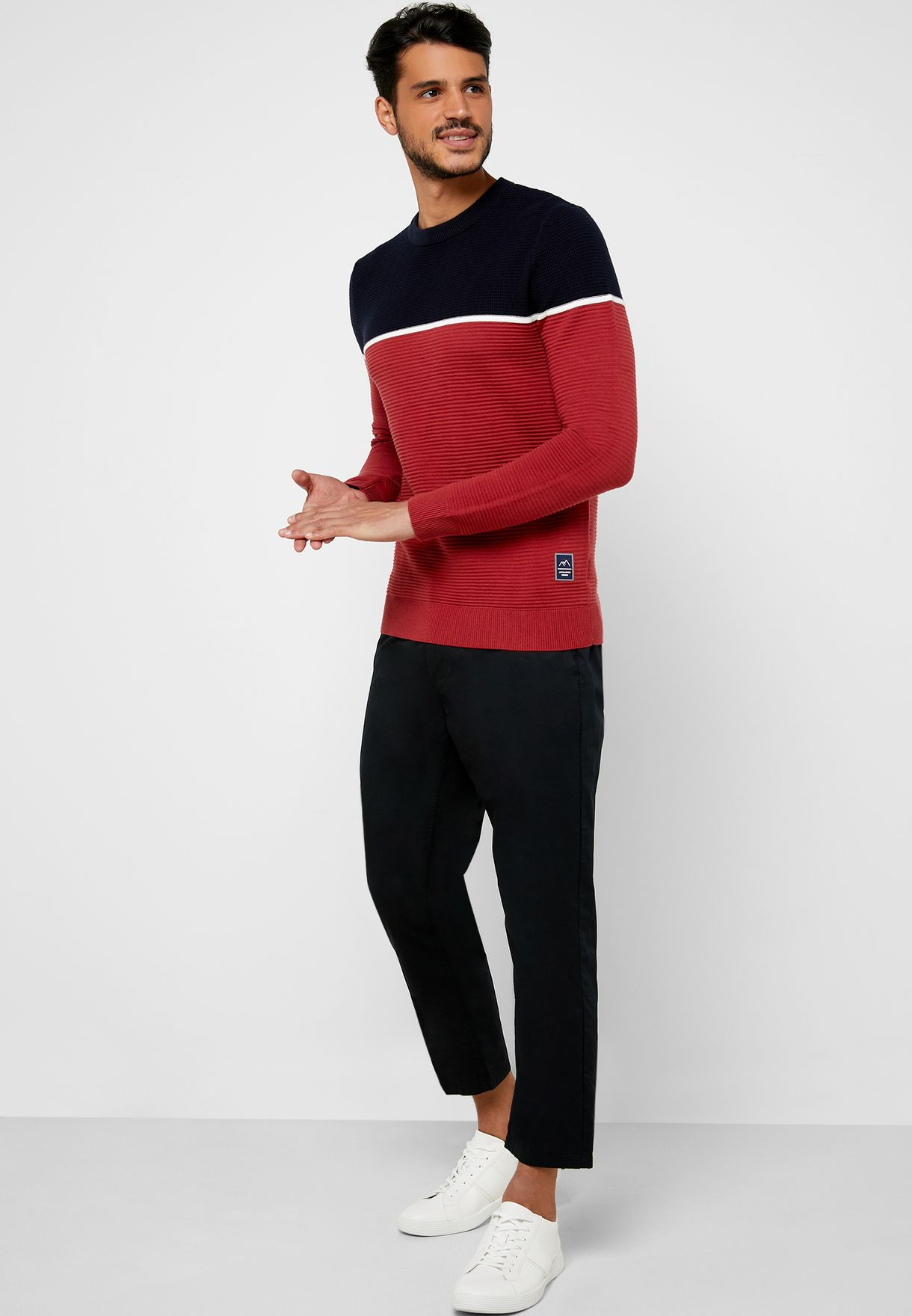 Brit Color Block Knitted Sweater