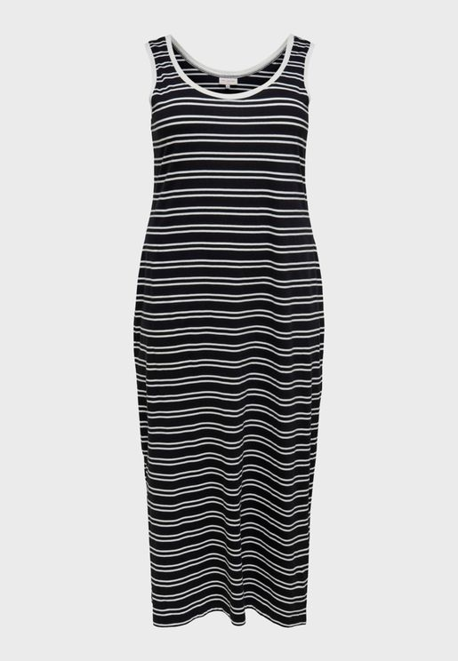 Contrast Trim Striped Dress
