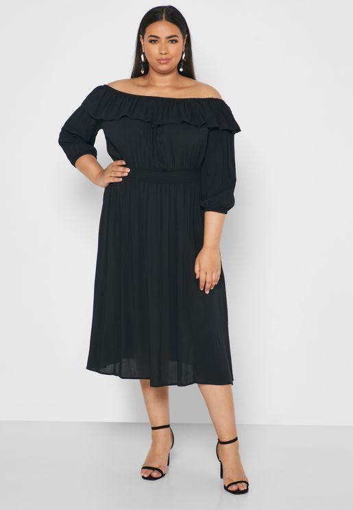Ruffle Detail Off Shoulder Dress