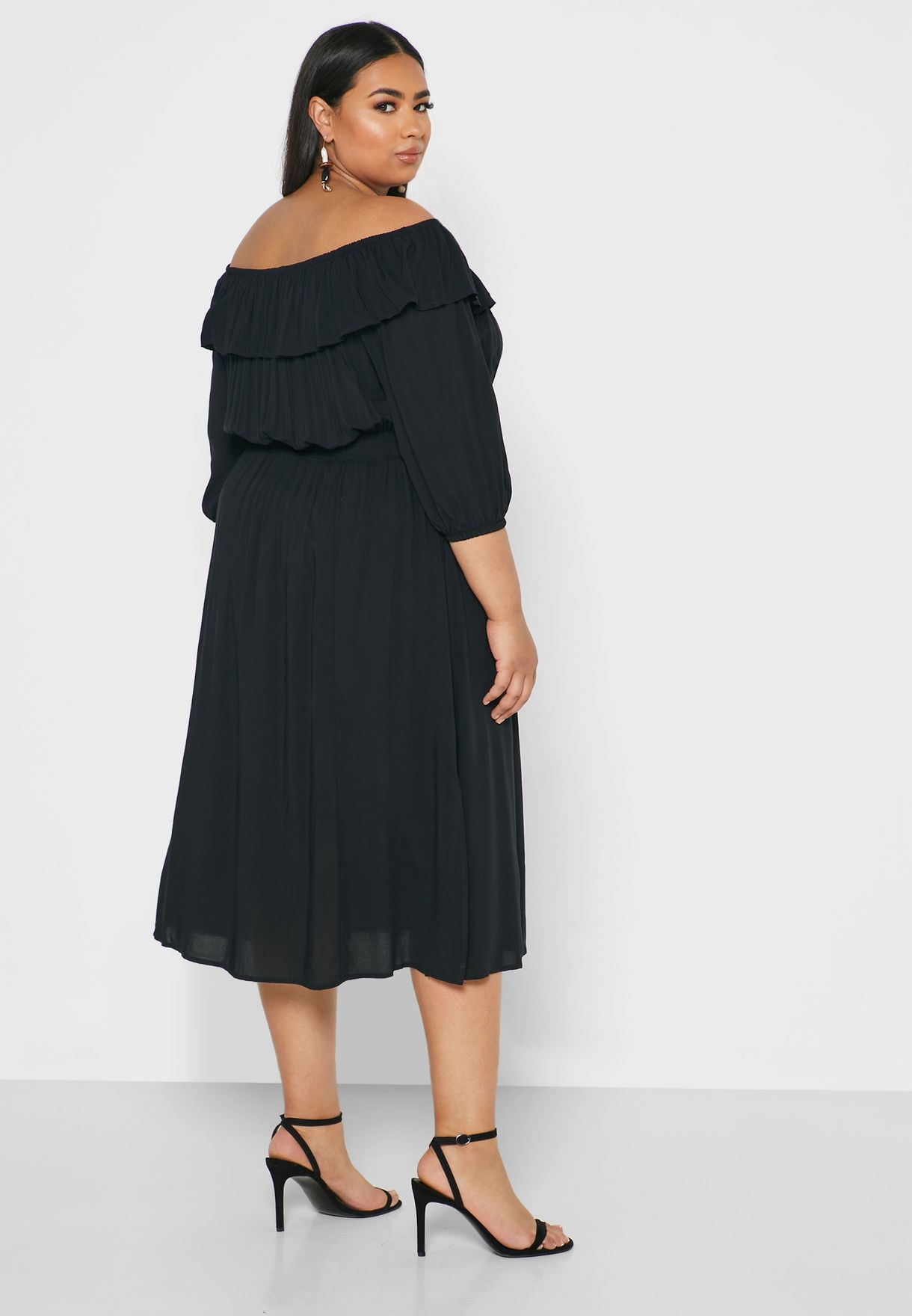 Ruffle Detail Off Shoulder Dress