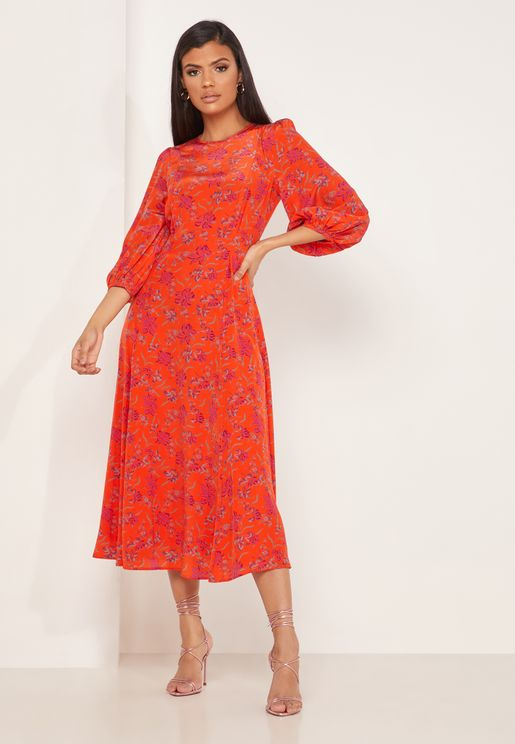 Kaia Floral Print Balloon Sleeve Dress
