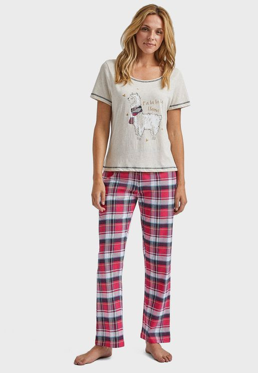 Printed T-Shirt & Checked Pyjama Set