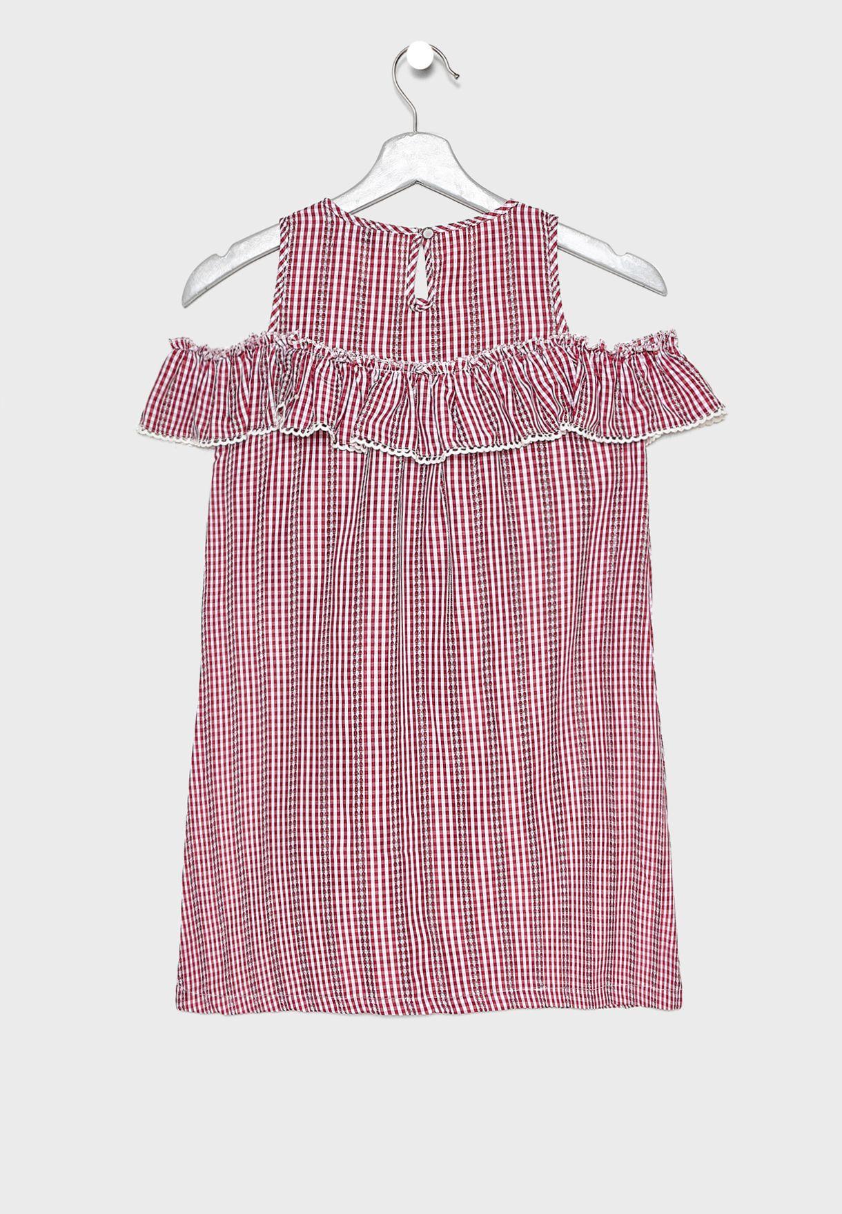 فستان عاري الكتفين بطبعات مربعات