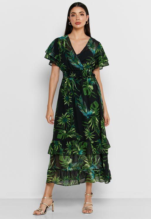 فستان مكشكش بطبعات استوائية