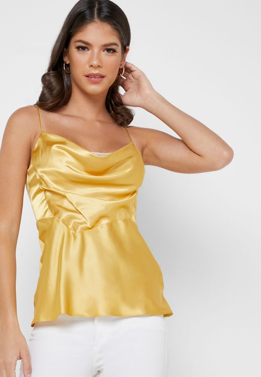 Cowl Neck Satin Cami Top