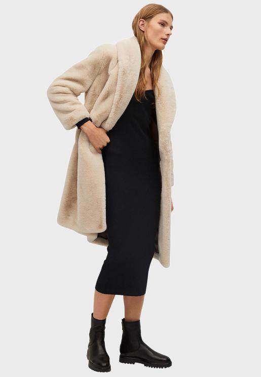 Longline Fur Detail Coat