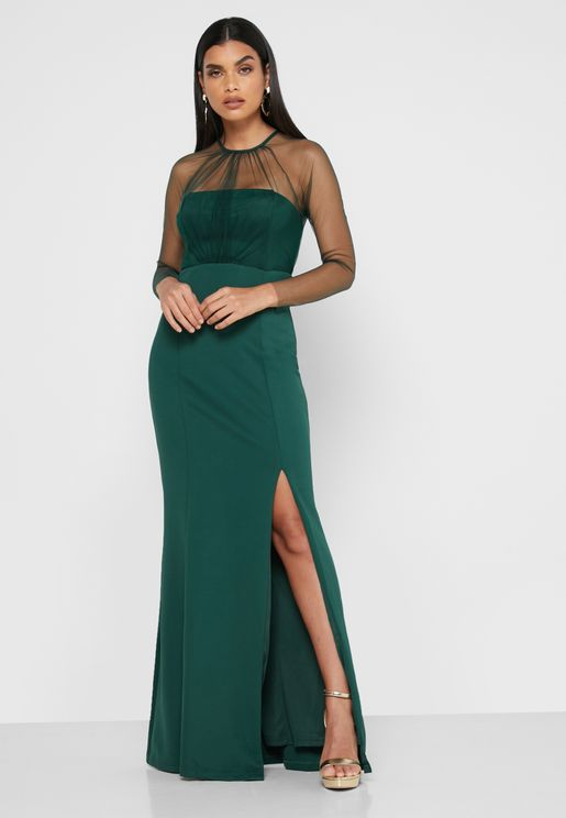 Mesh High Neck Maxi Dress