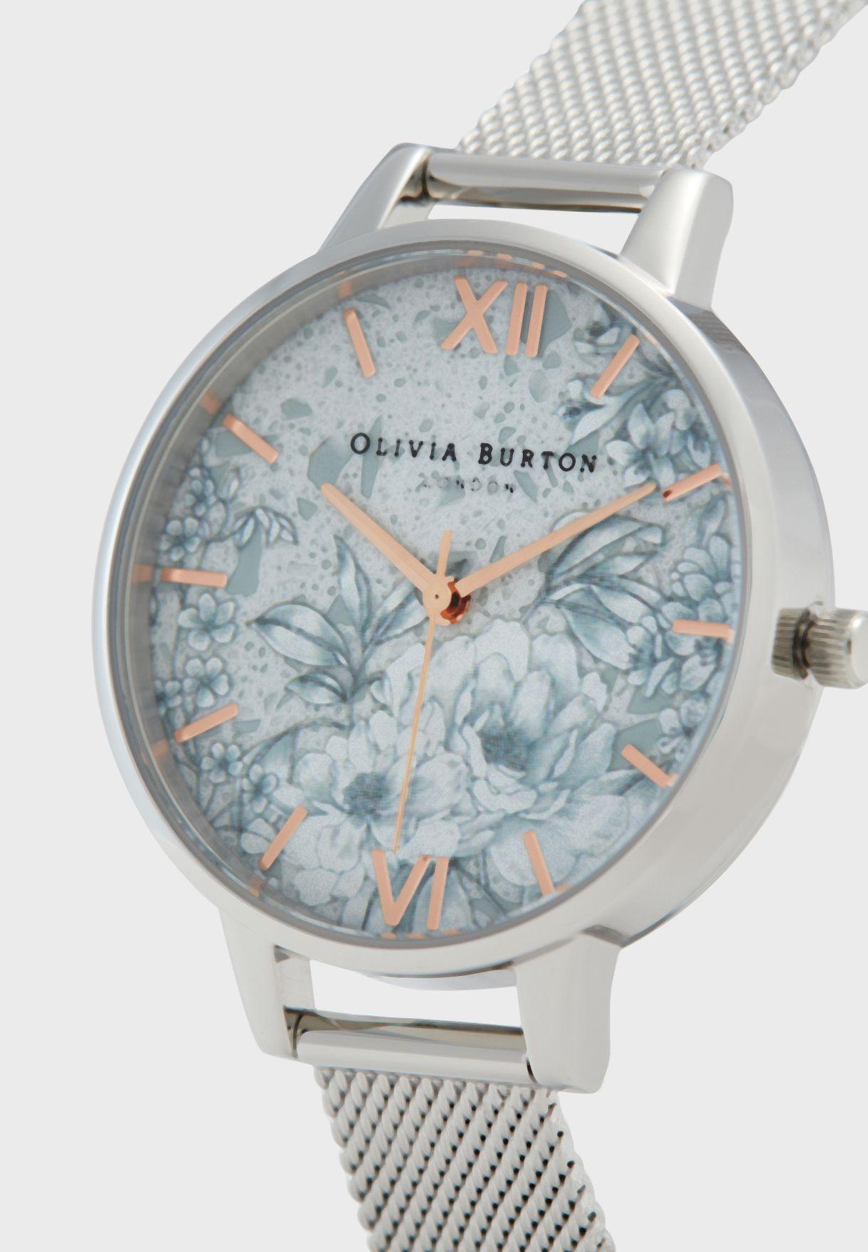 Terrazzo Floral Mesh Strap Analog Watch