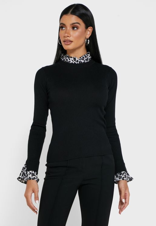 Printed Frill Collared Detail Top