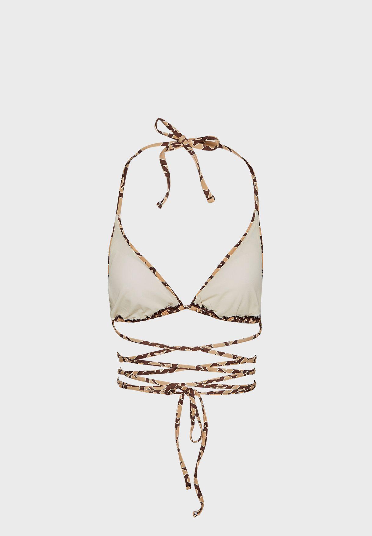 Printed Halter Neck Bikini Top