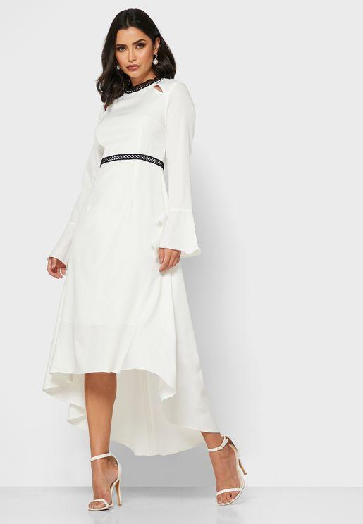Cut Out Shoulder Midi Dress
