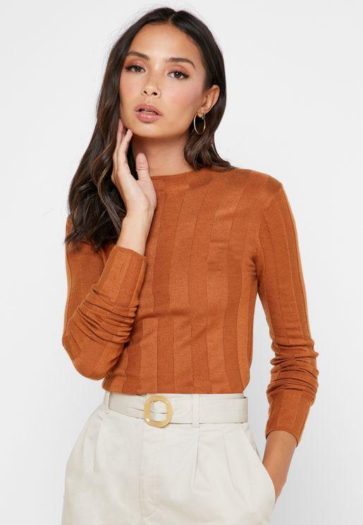 High Neck Striped Sweater