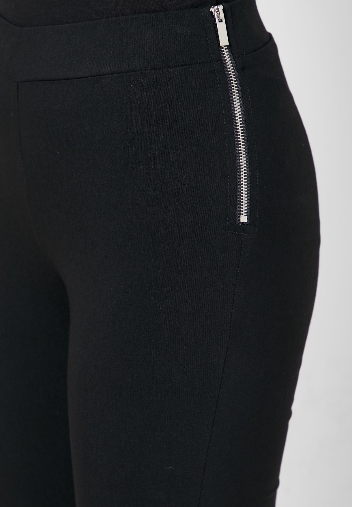 Side Zip High Waist Cropped Pants