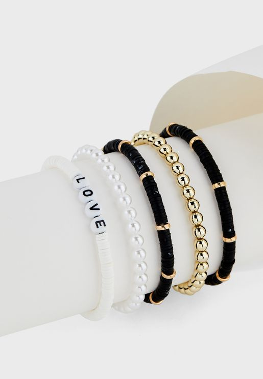 5 Pack Love Letters Bead And Pearl Bracelet Set