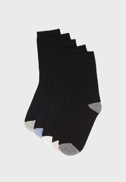 5 Pack Contrast Socks