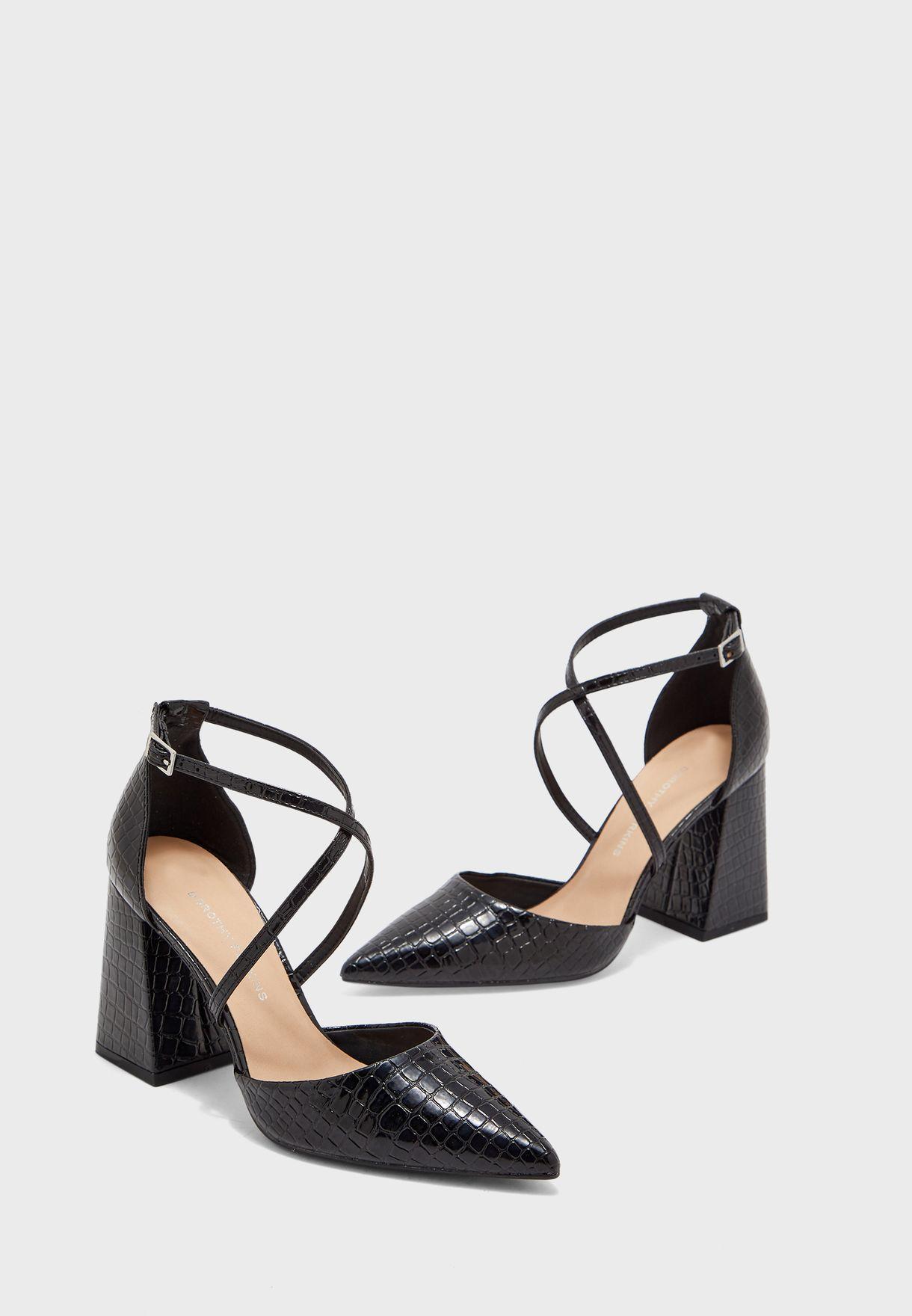 Ralph Lauren black chunky heel pumps