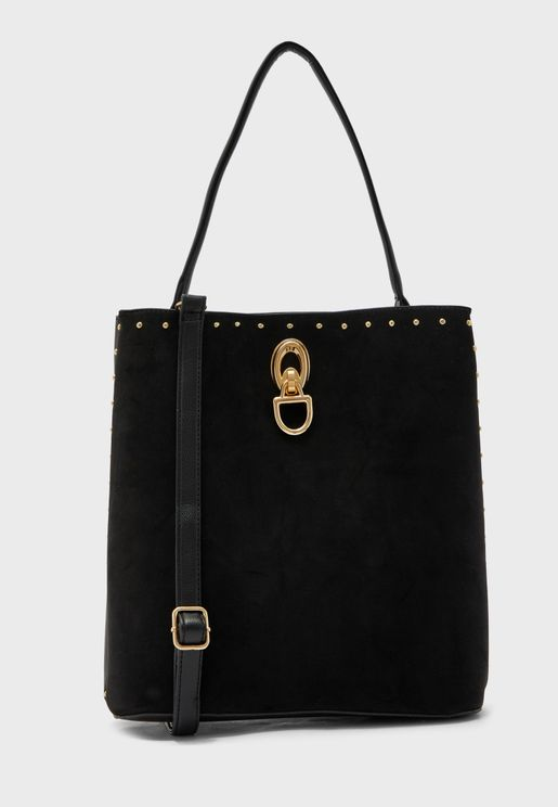 Suedette Stud Trim Bucket Hobo