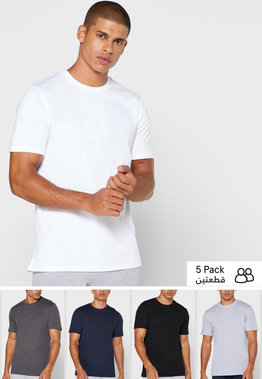 5 Pack Essential Crew Neck T Shirt