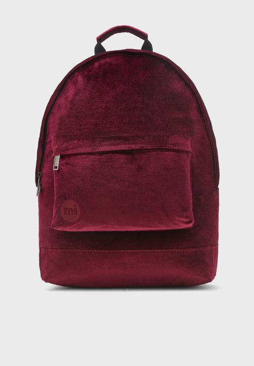 Zipper Front Velvet Backpack
