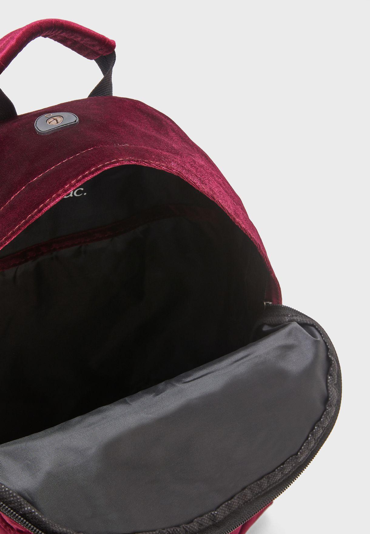 Zipper Front Velvet Backpack