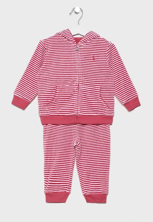 Infant Striped Hoodie + Sweatpants Set