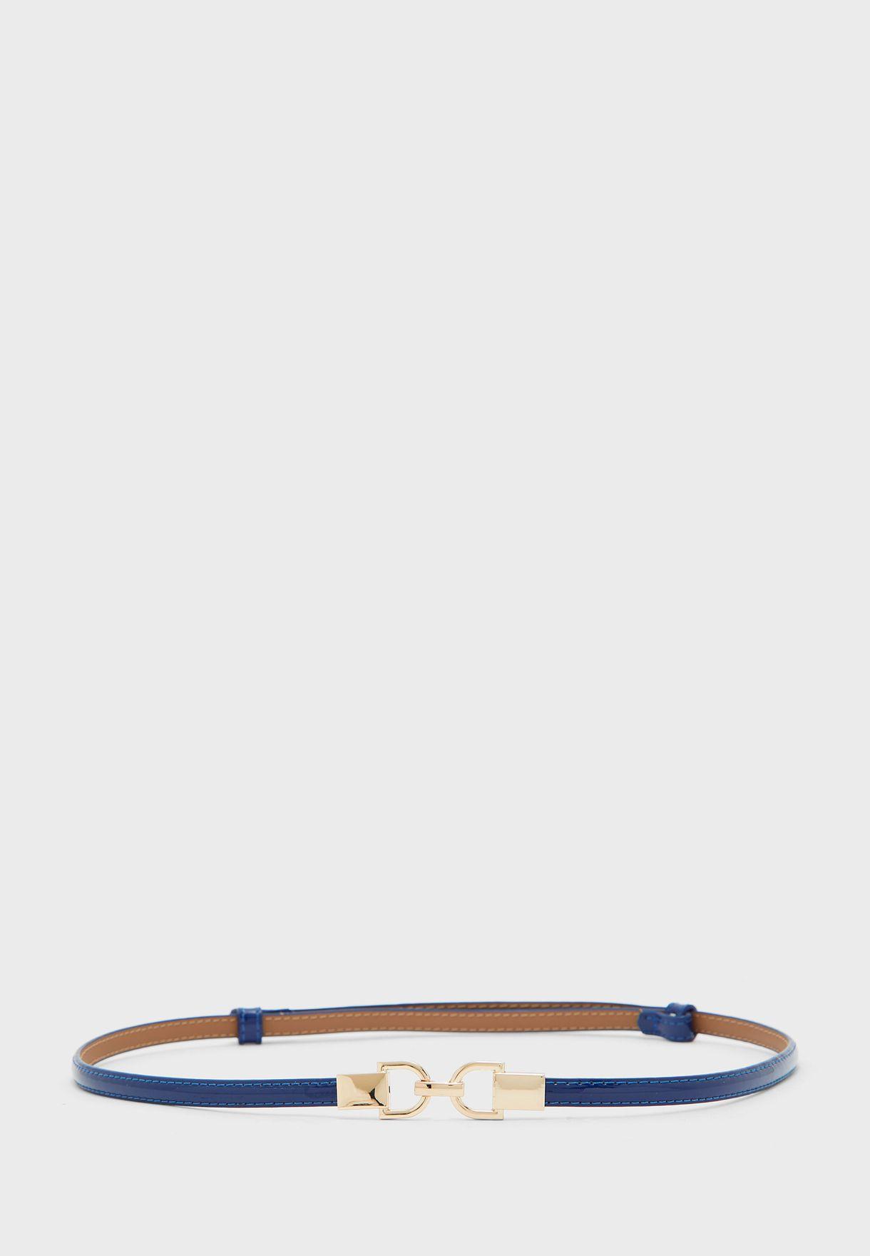 Leather Double Wrap Patent Waist Belt