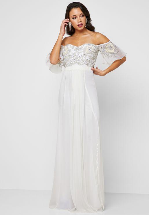 Carina Embellished Bardot Maxi Dress