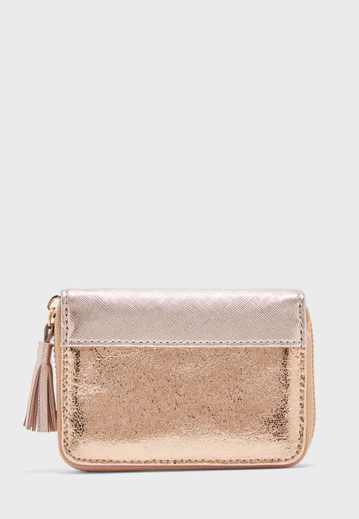 Tassel Mini Zip Around Purse