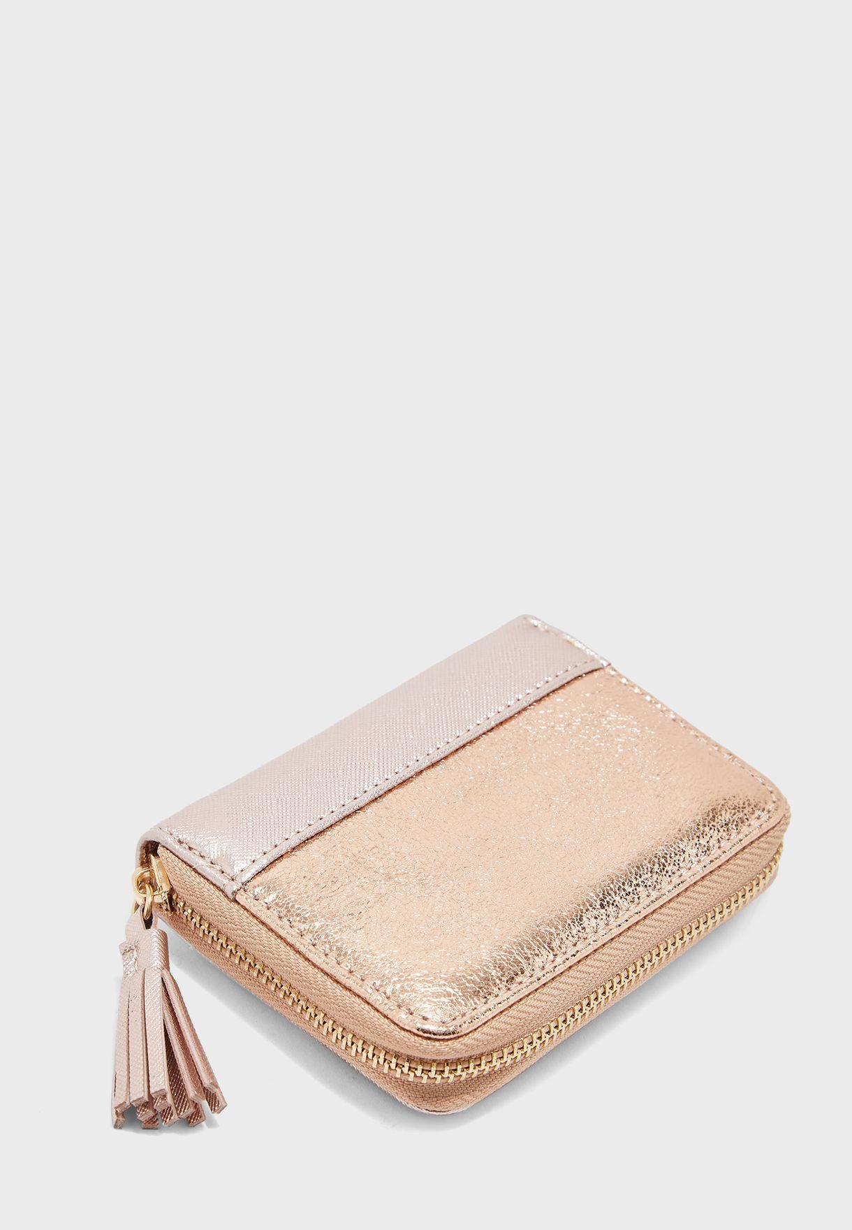 Tassel Mini Zip Around Purse
