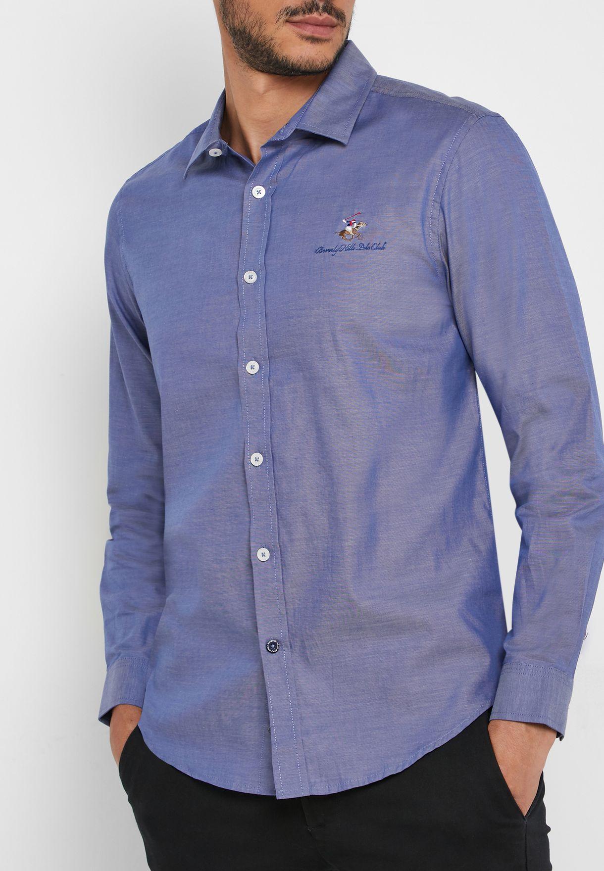 Button Down Logo Regular Fit Shirt